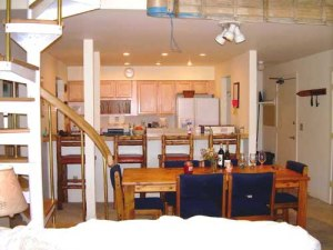 living room and kitchen of 4 bedroom condo for rent in Crested Butte, Colorado